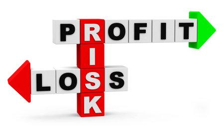 perdidas y ganancias: riesgo, ganancia, p�rdida de texto en los cubos