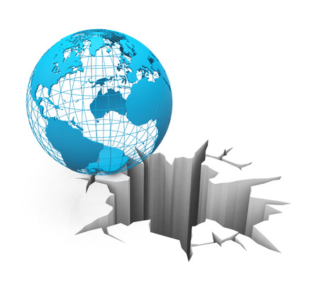brink: globe on the brink Stock Photo