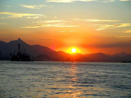 Sunset at Guanabara Bay with Oil Platform at the Bottom