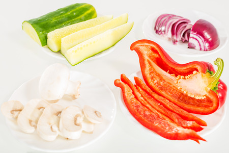Chopped vegetables prepared for further processing photo
