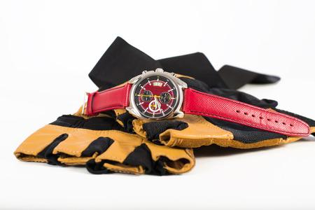 cron�grafo: Acero moderno Jap�n hizo reloj deportivo para hombre del cron�grafo Casio en guantes de cuero deportivos
