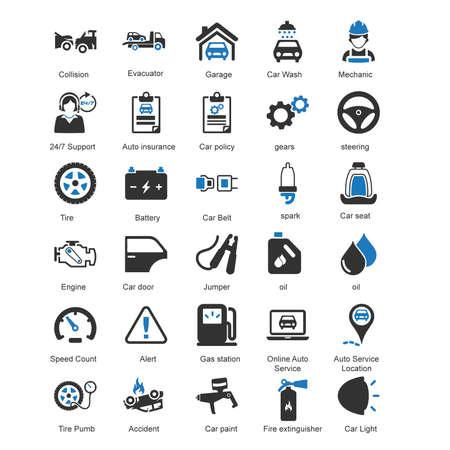 auto service: Vector - 30 Auto Service Icons Blue series