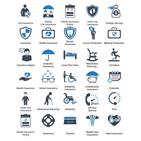 family policy: Vector - 30 life insurance  iconBlue Series Illustration