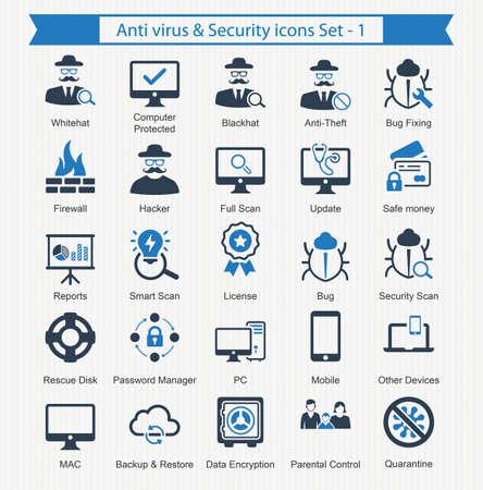 encrypt: Anti virus  Security icons - Set 1 Illustration
