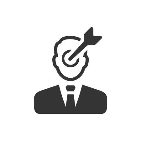 Businessmans face targeted with an arrow. Business target goals concept.