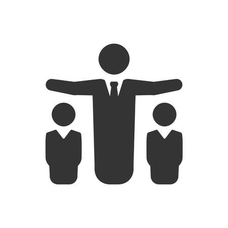 Silohoutte of three businessmen in white background. Business Team Icon Illustration