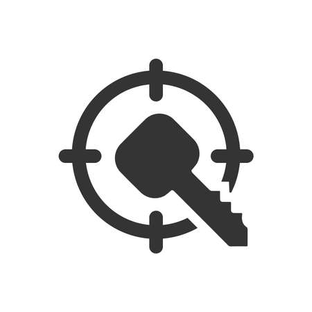 Silhouette of a key inside a round object. Key Target concept
