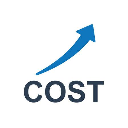 Schönes, sorgfältig gestaltetes Kostensteigerungssymbol