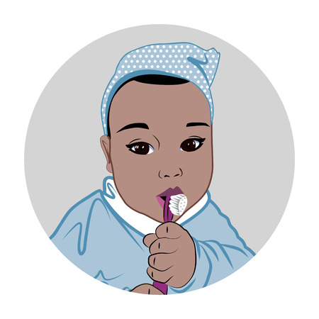 Baby boy with toothbrush Illustration