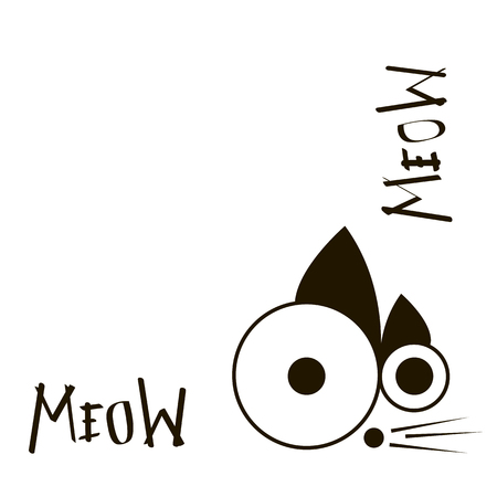 mew: Abstract pet vector in black color
