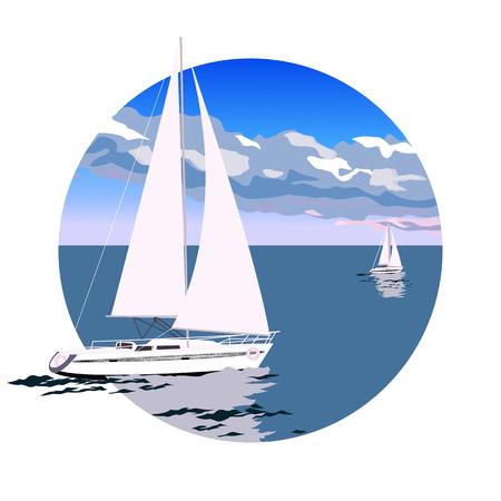 Skład w okręgu z jachtem na wektor morza