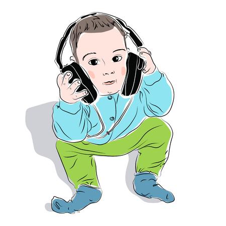 illustration of baby in headphones sitting on the floor