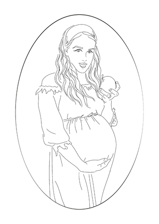 baby and mother: illustration of pregnancy woman, black line