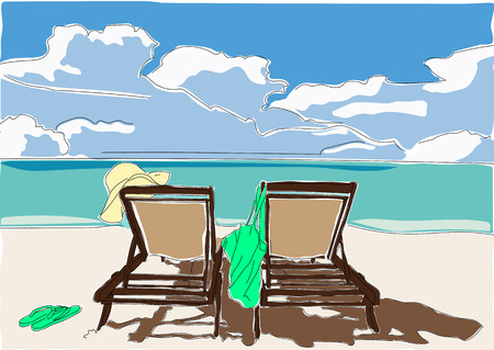 illustration of 2 loungers on the deserted Plage