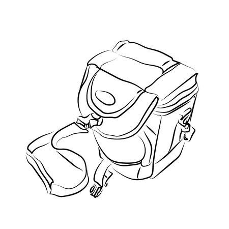illustration of camera bag black line vector Illustration