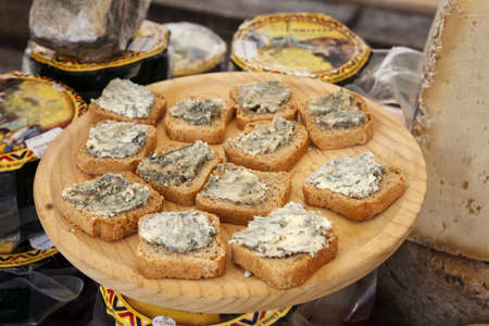 Homemade Cabrales cheese, traditional Spanish market  Asturias