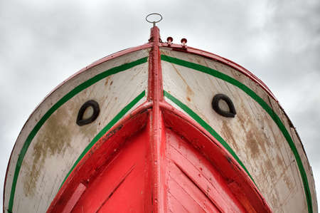 Bow of a fishing boat,  view from below