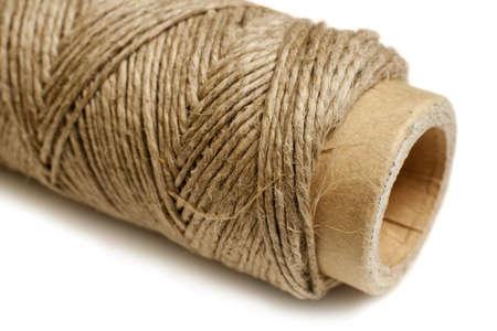 bonding rope: Hemp thread reel, horizontal  Macro studio shot