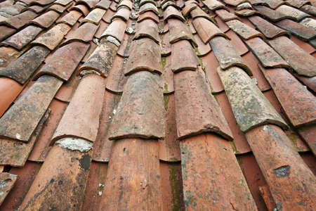 Old tile roof detail in North Spain Stock Photo