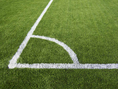 marking up: Soccer Corner Marking Lines Close Up Stock Photo