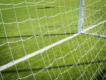 Goal line of a soccer grass field