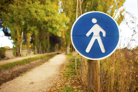 Pedestrian crossing sign on a forest trail Stock Photo - 16354399
