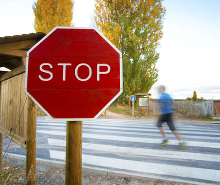 Stop symbol against a pedestrian crossing Stock Photo - 16557559