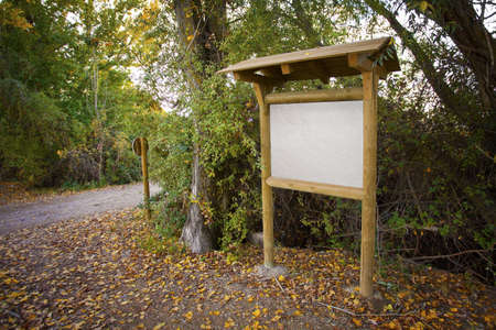 Wooden information panel in a park