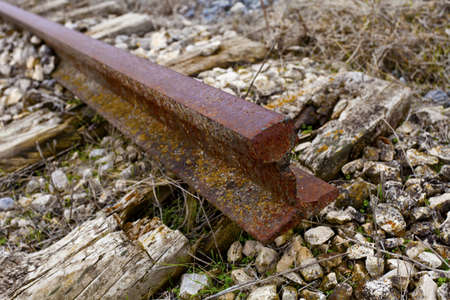 inoperative: Detail of the end of a railway. Macro shot. Stock Photo