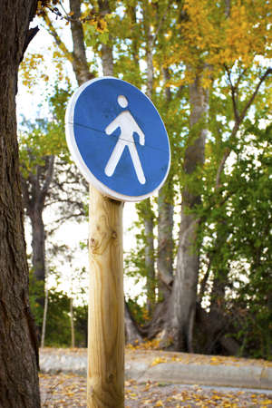 Pedestrian crossing sign on a forest trail Stock Photo - 17040100