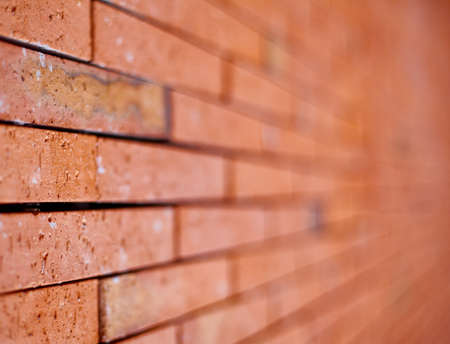 brick background: Brick Wall with Selective Focus. Horizontal composition. Stock Photo