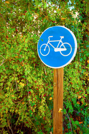 Wooden Post of Bicycle sign on a park. Valladolid, Spain. Stock Photo - 17991699