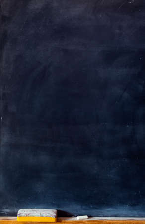 Blank blackboard with white chalk and eraser