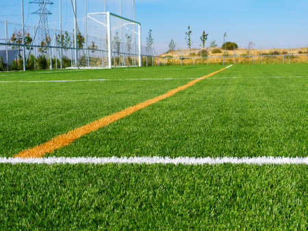 sideline: Limit lines of a sports grass field with soccer net