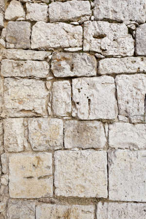 Old White Stone Blocks Wall for Background or Texture photo