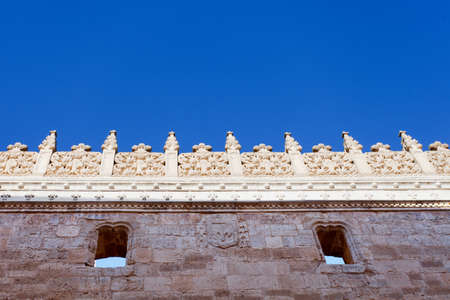 Facade detail of Gothic Church. San Gregorio, Valladolid, Spain photo