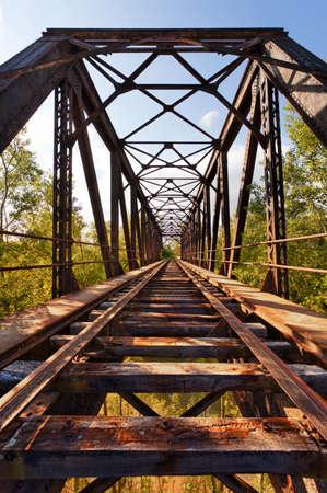 Old abandoned railroad bridge in Valladolid, Spain. Diminishing Perspective.