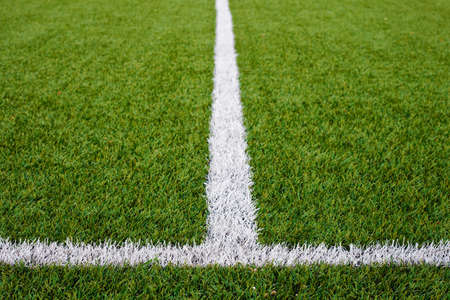 Limit lines of a sports grass field for Sports Backgrounds.  Selective focus.