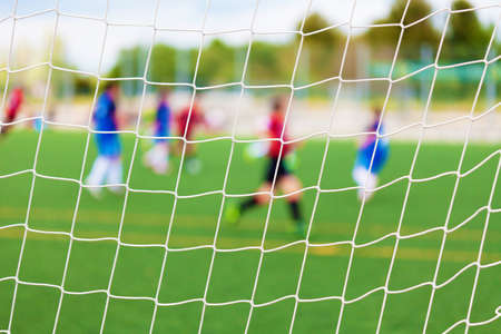 soccer match: Soccer Match with selective focus for Sports Backgrounds Stock Photo