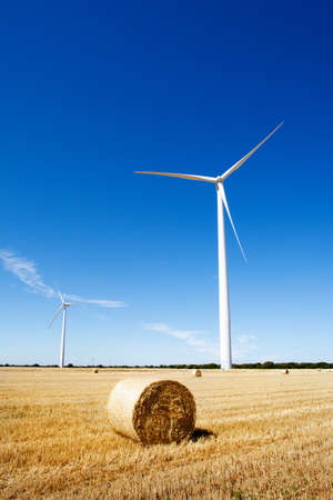 Land scape with wind turbines and agriculture. Clean and renewable energy.