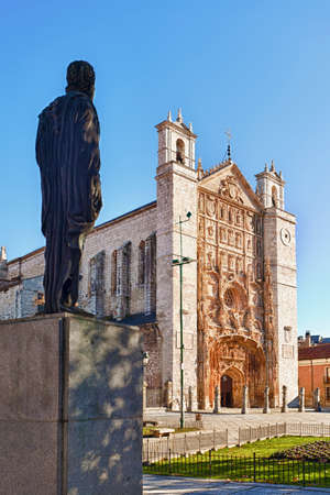 baptized: Estatue of  King Felipe II  Philip II and San Pablo church, place where he was born and baptized. Valladolid, Spain.