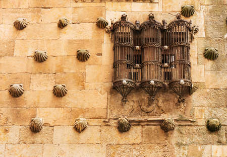 Detail of a nice window in the Casa de las Conchas, Home of Shells. Salamanca, Spain photo