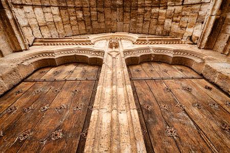 Door of El Salvador Church in Simancas, XII century  Valladolid, Spain  Stock Photo