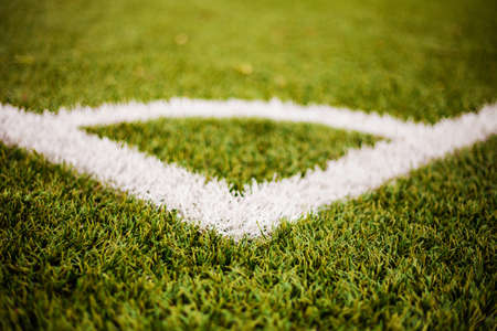 Corner lines detail on a soccer field  For Background or Texture Stock Photo