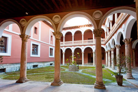 Old historic cloister in the downtown of Valladolid, Spain  Standard-Bild
