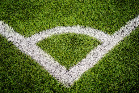 Corner lines detail on a soccer field. For Background or Texture