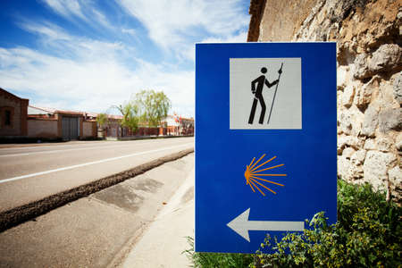 Sign of the Camino de Santiago. Pilgrimage route to the Cathedral of Santiago de Compostela, Spain.