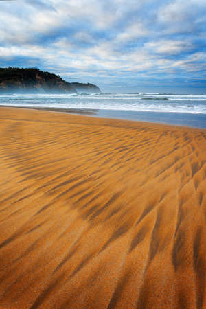 Drawings in the sand on a beach in Northern Spain, Asturias. Stock Photo