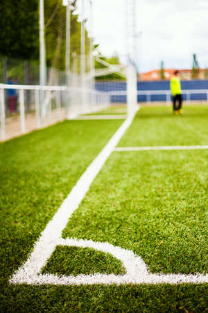 Limit lines of a sports grass field with Goalkeeper and soccer net