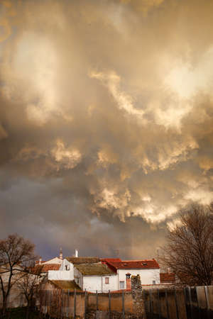 Storm over the village. Valladolid, Spain.